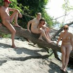 Log Balancing in Park – Naturist Family Events [Purenudism photos]