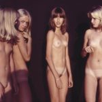 Young girls naturists stylish vintage photo