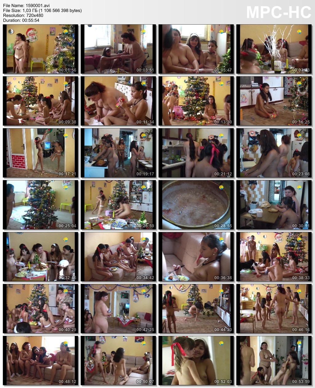 Young and adult naturists celebrate Christmas