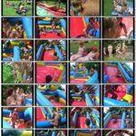 Green grass, inflatable slides and family nudism