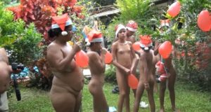 Brazil nudist Christmas, festival celebrations. Part one