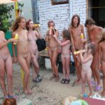 Watermelon lunch family nudist company